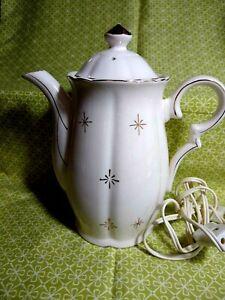 Vintage Circa 1960's Ceramic Electric Water Kettle White w Gold Trim JAPAN Works