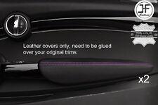 Puntada púrpura 2X Puerta Apoyabrazos Cuero Cubiertas Para BMW Mini Cooper 14-17 F56