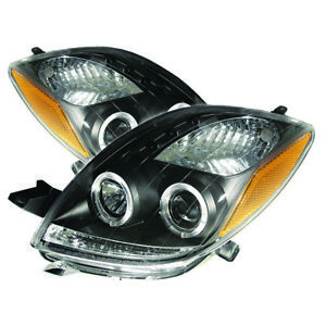 Toyota 06-08 Yaris 3Dr Hatchback Euro Black Dual Halo LED Projector Headlights