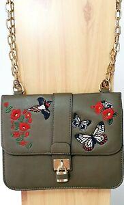 Green Trendy Woman shoulder handbag with golden long chain flowers butterflies