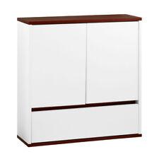 Bathroom White Wooden Wall Cabinet 2 Door 1 Drawer Walnut Veneer Storage Rack