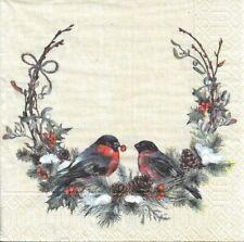 Lot de 4 Serviettes en papier Coronne de Noël Oiseaux Decoupage Decopatch