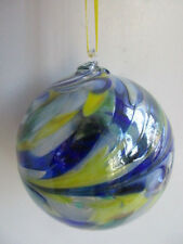 BOCCA di vetro soffiato Spirito di amicizia Palla Limone/Blu/Verde 8 cm IN SCATOLA