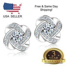 Forever Elegant Crystal Ear Stud Earrings 925 Sterling Silver Women Jewelry Love