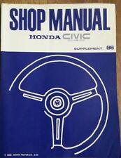 Honda Civic Coupe CRX car shop manual suplement 86