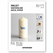 Sunnyscopa Waterslide Decal Paper for INKJET Printer - CLEAR US LETTER SIZE 8...