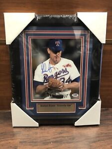 Nolan Ryan Autographed Signed & Framed 8x10 Photo -  Rangers - PSA