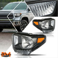For 14-20 Tundra Direct Replacement Headlight/Lamps Black Housing Amber Corner