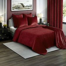 Brielle Premium Heavy Velvet Quilt Set with Cotton Backing, Twin, Burgundy