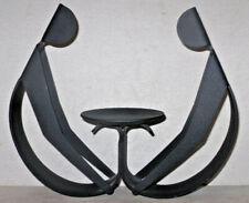 Vtg Danish MidCentury Modern WINCKLER Denmark Candleholder Black Metal Sculpture