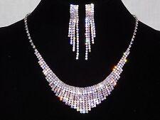 Bridal Silver Clear & AB Rhinestones Crystal Necklace, Earrings Set