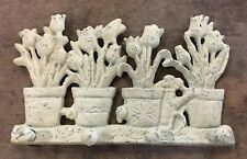 FLOWER POT 4 HOOK Bathroom or Kitchen Towel Hanger shabby chic farmhouse country