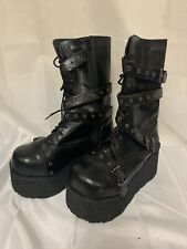 DEMONIA Black Mens Womens Goth Punk Platform Calf Strap Boots TRASHVILLE-205