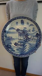 """Very Large Beautiful Japanese Meiji Period Blue & White Plate Charger 17.7"""""""