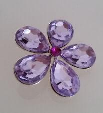 Brosche Anstecknadel 4,5 cm Blume silberfarben Strass pink Mode Perle B 82 d