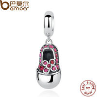 Bamoer Solid S925 Sterling Silver Charm Pretty Shoes Pendant Fit Bracelet Chains