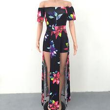 Womens Boho Floral Long Maxi Dress Evening Party Beach Holiday Summer Sundress