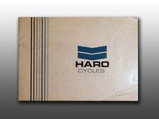 Original Old School 1980's 90's Haro Road Bicycles, Owner's Manual