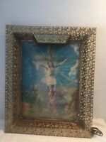 "Vintage Jesus On The Cross 3D Holographic Lighted Framed Picture 17"" X 21"""
