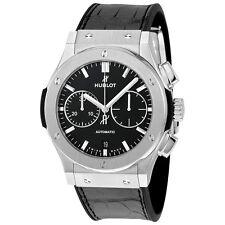 Hublot Classic Fusion Automatic Chronograph Black Dial Black Leather Mens Watch