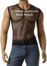 Vintage 80's Mens Mesh Fishnet Sleeveless Muscle Lingerie Top T-Shirt  #368