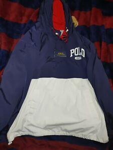 POLO RALPH LAUREN BRAND NEW RED/WHITE/ BLUE NYLON QUARTER ZIP HOODIE JACKET 3XLT