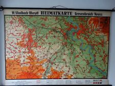 Landkarte Schulwandtafel Wandkarte Braunkohlegebiet RWE Grevenbroich Rheydt