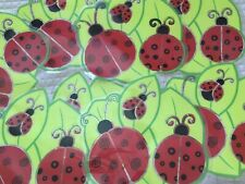 """Lady Bugs on Leaves 8 Placemats Vinyl Plastic 15"""" x 15""""  Red Black Green"""