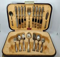 Vintage Community Oneida Evening Star Silver Plate 53 Piece Silverware W/ Case