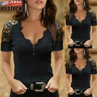 US Sexy Women's V Neck Lace Short Sleeve Shirt Ladies Slim Fit Blouse Tops Tee