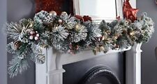 6ft Pre-lit Copenhagen Snowy Garland With Cone Berries & 25 Warm White LED Light