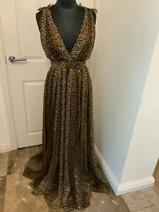 New Dolce & Gabbana D&G plunge chiffon leopard animal print maxi dress IT44 UK12
