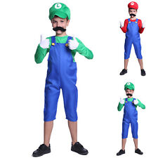 Mens & Childs Super Mario and Luigi Bros Fancy Dress Halloween Costume Plumber