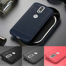 Shockproof Brushed Carbon Fiber TPU Case Cover For Motorola Moto G4 G5 Plus/Play
