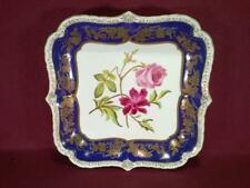"#4 CHELSEA HOUSE SQUARE FLORAL DECORATIVE PLATTER - 11"" - COBALT/GOLD"