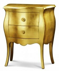 Bedside Table 11252 With 2 Drawers, Classic Leaf Gold