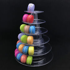 6 Tier Round Macaron Tower Cake Stand PVC Tray Display Rack for Wedding Birthday