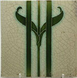 ANTIQUE ART NOUVEAU TILE BY RHODES TILE CO. C.1906 6IN.SQ