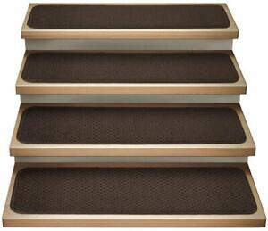 House, Home & More Set of 15 Attachable Carpet Stair Treads - Chocolate 15x30 In