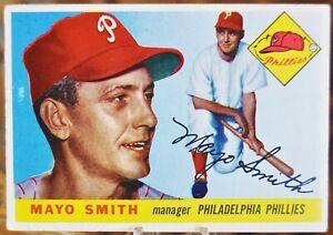 1955 Topps Baseball Card, #130 Mayo Smith, Philadelphia Phillies - VG