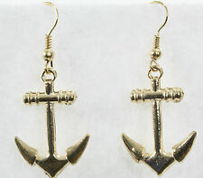 "Classic anchor dangle drop earrings gold 1.25"" nautical ship ahoy sailor sea"