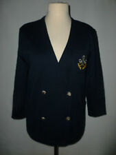 Dames eastex mélange laine tricot bleu marine blazer taille m == uk 14