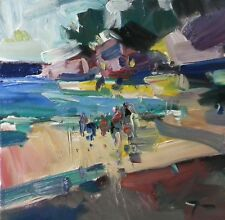 JOSE TRUJILLO - OIL PAINTING BEACH PEOPLE FAMILY VACATION SUMMER MODERNIST ART