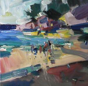JOSE TRUJILLO - OIL PAINTING BEACH PEOPLE FAMILY VACATION SUMMER MODERNIST ART