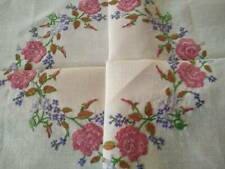 Sweet Pink Roses & Forgetmenots  Vintage Hand Embroidered Tablecloth