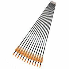 12 Pcs 31'' Spine 700 Fiberglass Arrow Black & White Feather For Archery Sports