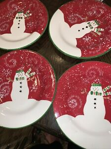 "RARE 4 Debbie Mumm Holiday Snowman Salad Dessert Plate Snowflakes 8.25"""