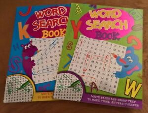 Childrens A4 Word search book 96 pages choice of green or blue