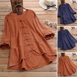 UK Womens Vintage Cotton Linen Long Sleeve V Neck Shirt Casual Loose Top Blouse