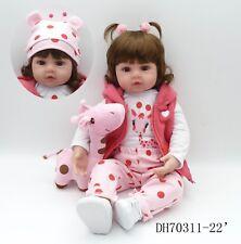 "22""Newborn Doll Real Lifelike  Silicone Reborn Baby Dolls Toddler Girl Xmas Gift"